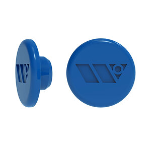 American Punch Push Button Logo, Blue Plug Small